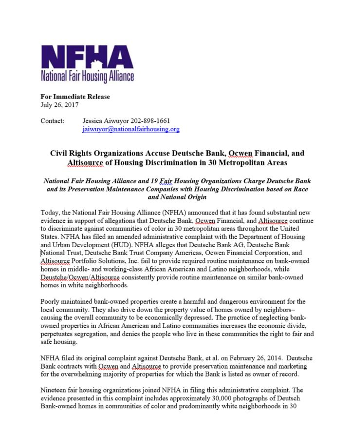 COFHA And 19 Fair Housing Organizations Charge Deutsche Bank Its Preservation Maintenance Companies With Discrimination Based On Race